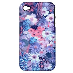 Spring Flowers Blue Apple iPhone 4/4S Hardshell Case (PC+Silicone)