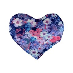 Spring Flowers Blue 16  Premium Heart Shape Cushion