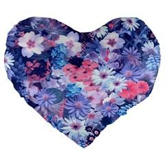 Spring Flowers Blue 19  Premium Heart Shape Cushion