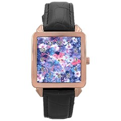 Spring Flowers Blue Rose Gold Leather Watch