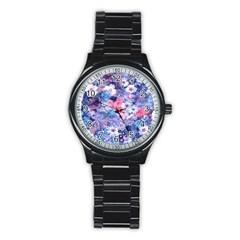 Spring Flowers Blue Sport Metal Watch (black)