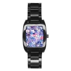 Spring Flowers Blue Stainless Steel Barrel Watch