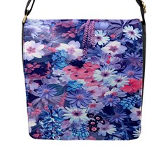 Spring Flowers Blue Flap Closure Messenger Bag (Large)