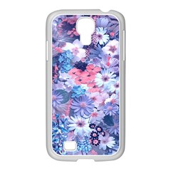 Spring Flowers Blue Samsung GALAXY S4 I9500/ I9505 Case (White)