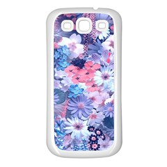 Spring Flowers Blue Samsung Galaxy S3 Back Case (White)
