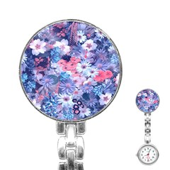 Spring Flowers Blue Stainless Steel Nurses Watch