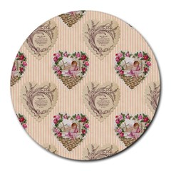 Vintage Valentine 8  Mouse Pad (Round)