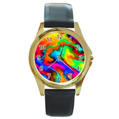 Crazy Effects  Round Leather Watch (Gold Rim)