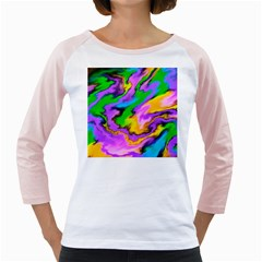 Crazy Effects  Women s Long Cap Sleeve T-Shirt (White)