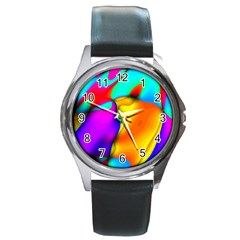 Crazy Effects Round Leather Watch (Silver Rim)