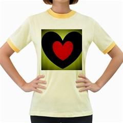 Lovely Heart Womens  Ringer T-shirt (Colored)