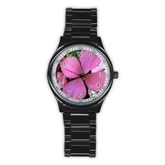 Pink Flower Sport Metal Watch (Black)