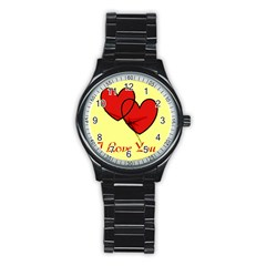 I Love You Sport Metal Watch (Black)