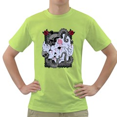 Octopus Attack Mens  T Shirt (green)
