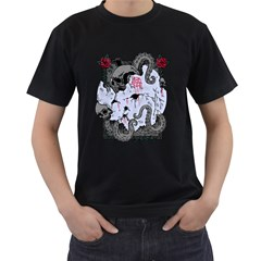 Octopus Attack Mens' Two Sided T-shirt (Black)