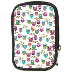 Happy Owls Compact Camera Leather Case