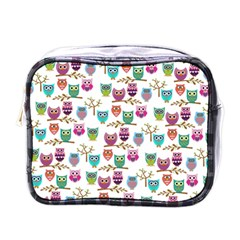 Happy Owls Mini Travel Toiletry Bag (One Side)