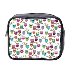 Happy Owls Mini Travel Toiletry Bag (Two Sides)