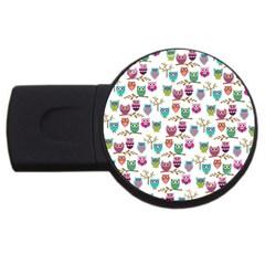 Happy Owls 1GB USB Flash Drive (Round)