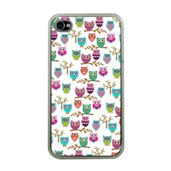 Happy Owls Apple iPhone 4 Case (Clear)