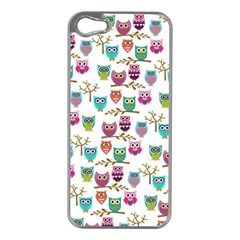 Happy Owls Apple iPhone 5 Case (Silver)