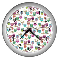 Happy Owls Wall Clock (Silver)