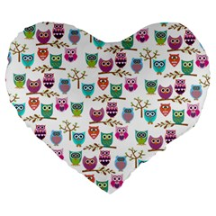 Happy Owls 19  Premium Heart Shape Cushion