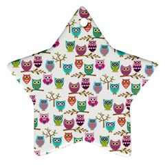 Happy Owls Star Ornament (Two Sides)