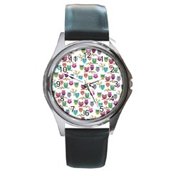 Happy Owls Round Leather Watch (silver Rim)