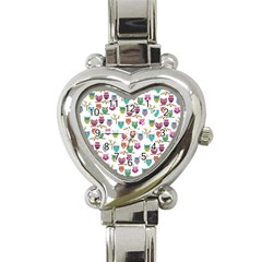 Happy Owls Heart Italian Charm Watch
