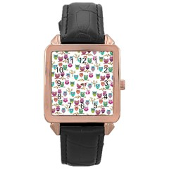 Happy Owls Rose Gold Leather Watch