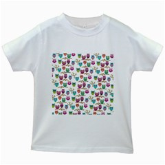 Happy Owls Kids' T-shirt (White)
