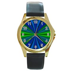 Design Round Leather Watch (Gold Rim)
