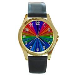 Design Round Leather Watch (Gold Rim)