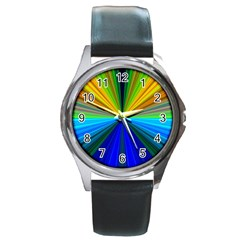 Design Round Leather Watch (Silver Rim)
