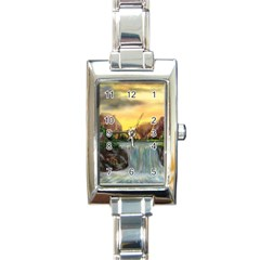 Brentons Waterfall - Ave Hurley - ArtRave - Rectangular Italian Charm Watch