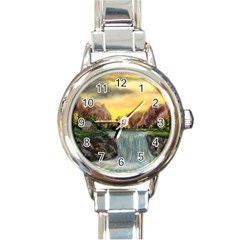 Brentons Waterfall - Ave Hurley - ArtRave - Round Italian Charm Watch