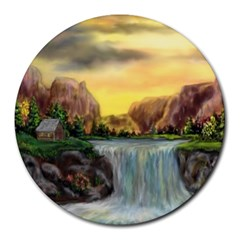 Brentons Waterfall - Ave Hurley - ArtRave - 8  Mouse Pad (Round)