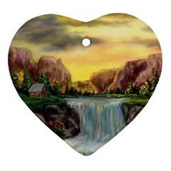 Brentons Waterfall - Ave Hurley - ArtRave - Heart Ornament