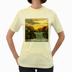Brentons Waterfall - Ave Hurley - ArtRave -  Womens  T-shirt (Yellow)