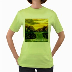 Brentons Waterfall - Ave Hurley - ArtRave - Womens  T-shirt (Green)