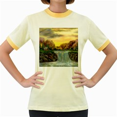 Brentons Waterfall   Ave Hurley   Artrave   Womens  Ringer T Shirt (colored)