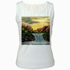 Brentons Waterfall   Ave Hurley   Artrave   Womens  Tank Top (white)