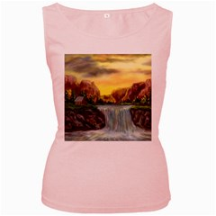 Brentons Waterfall - Ave Hurley - ArtRave - Womens  Tank Top (Pink)
