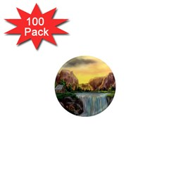 Brentons Waterfall - Ave Hurley - ArtRave - 1  Mini Button Magnet (100 pack)