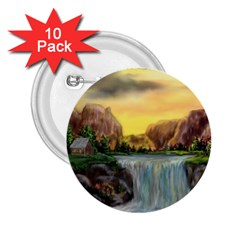 Brentons Waterfall - Ave Hurley - ArtRave - 2.25  Button (10 pack)