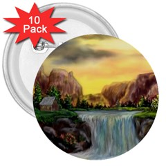 Brentons Waterfall - Ave Hurley - ArtRave - 3  Button (10 pack)