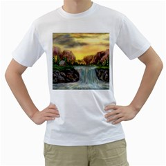 Brentons Waterfall - Ave Hurley - ArtRave - Mens  T-shirt (White)