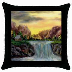 Brentons Waterfall - Ave Hurley - ArtRave - Black Throw Pillow Case