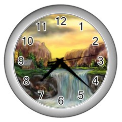 Brentons Waterfall - Ave Hurley - ArtRave - Wall Clock (Silver)